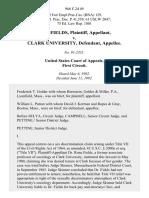 Rona Fields v. Clark University, 966 F.2d 49, 1st Cir. (1992)