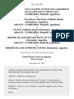 Alfred W. Tamburro v. City of East Providence and State of Rhode Island, Alfred W. Tamburro v. State of Rhode Island, Alfred W. Tamburro v. Rhode Island Department of Corrections, Alfred W. Tamburro v. Rhode Island Supreme Court, 981 F.2d 1245, 1st Cir. (1992)