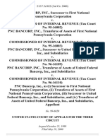 Pnc Bancorp, Inc., Successor to First National Pennsylvania Corporation v. Commissioner of Internal Revenue (Tax Court No. 95-16002) Pnc Bancorp, Inc., Transferee of Assets of First National Pennsylvania Corporation v. Commissioner of Internal Revenue (Tax Court No. 95-16003) Pnc Bancorp, Inc., Successor to United Federal Bancorp, Inc., and Subsidiaries v. Commissioner of Internal Revenue (Tax Court No. 96-16109) Pnc Bancorp, Inc., Transferee of Assets of United Federal Bancorp, Inc., and Subsidiaries v. Commissioner of Internal Revenue (Tax Court No. 96-16110) Pnc Bancorp, Inc., as (I) Successor to First National Pennsylvania Corporation, (Ii) Transferee of Assets of First National Pennsylvania Corporation, (Iii) Successor to United Federal Bancorp, Inc., and Subsidiaries, and (Iv) Transferee of Assets of United Federal Bancorp, Inc., and Subsidiaries, 212 F.3d 822, 1st Cir. (2000)