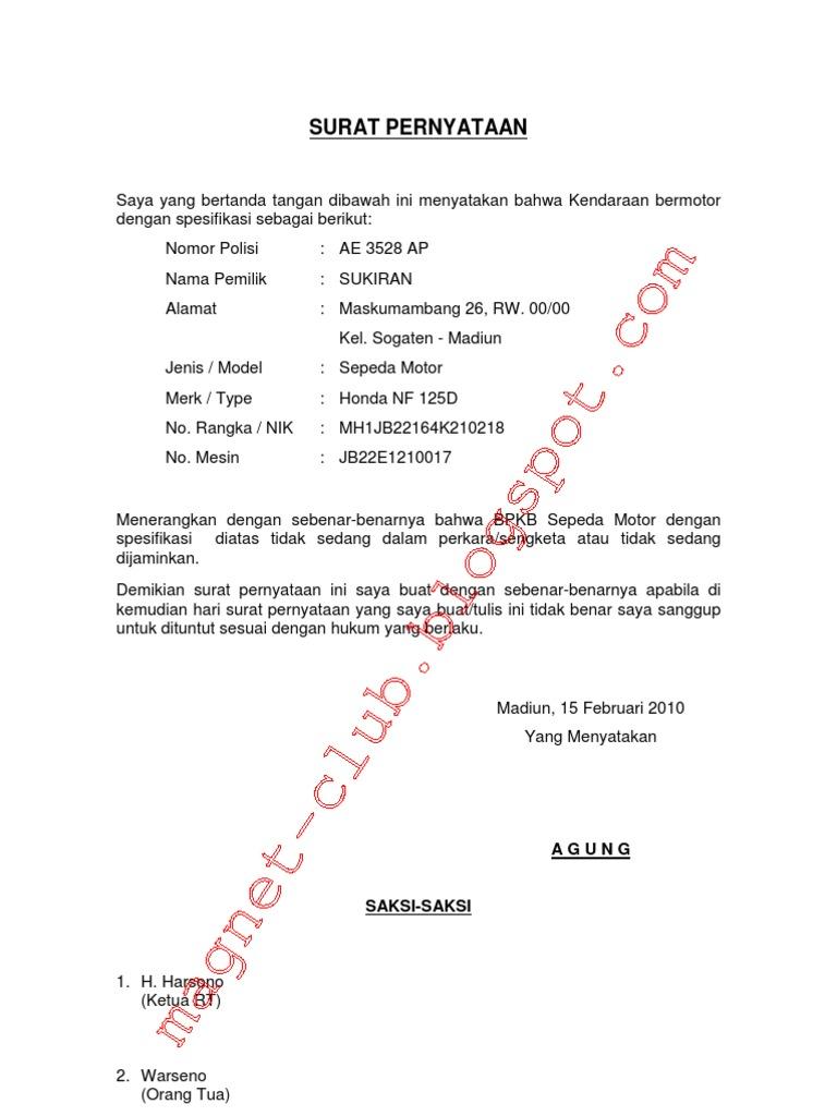 Surat Keterangan Bpkb Tidak Dalam Jaminan Agunan Bank