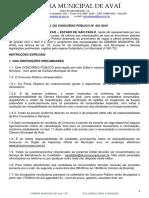 Edital Concurso Público - Completo Câmara Avaí SP