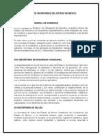 Siglas de Secretarias Del Estado de Mexico