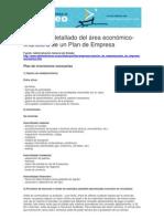 Area Financiera del plan de empresa