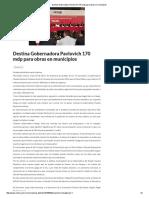 29-05-16 Destina Gobernadora Pavlovich 170 mdp para obras en municipios. -Critica
