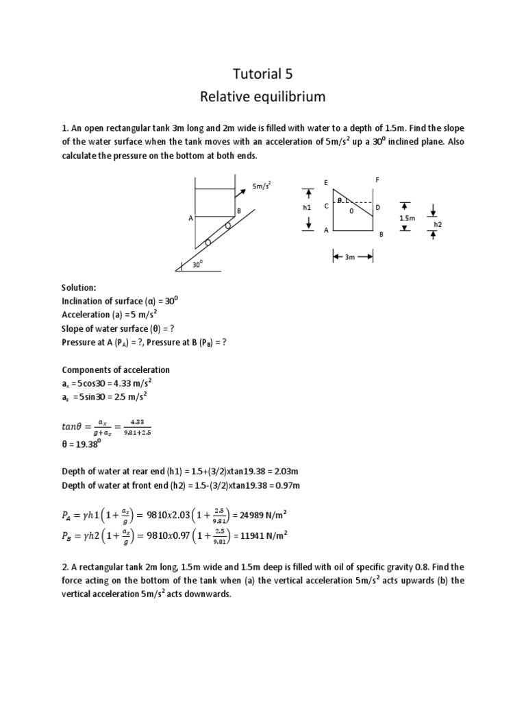 5 Relative Equilibrium Tutorial Solution | Volume | Pressure