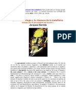 La Fenomenología y La Clausura de La Metafísica Texto Publicado en Lengua Griega