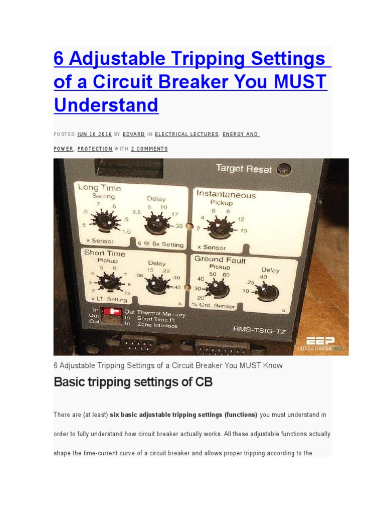 6 Adjustable Tripping Settings Of A Circuit Breaker You Must What Should I Do About Understand Power Physics Manufactured Goods
