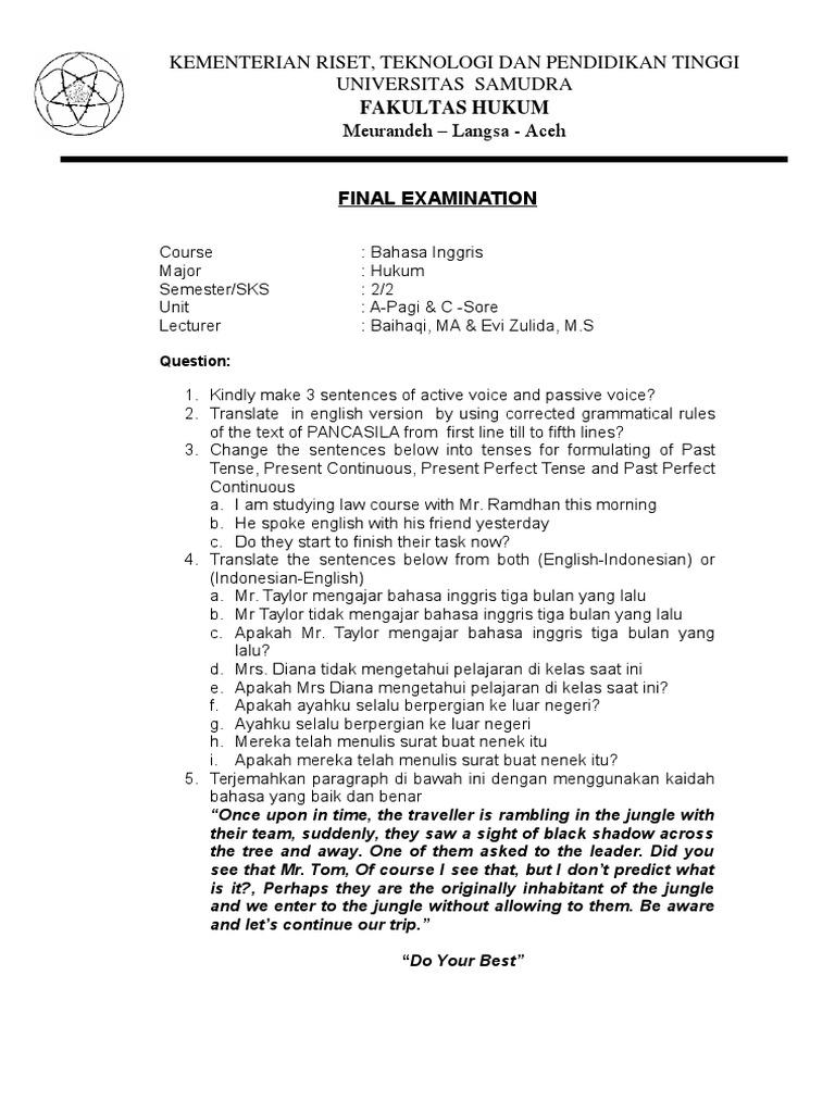 Soal Uas Bahasa Inggris Semester Ii Fakultas Hukum