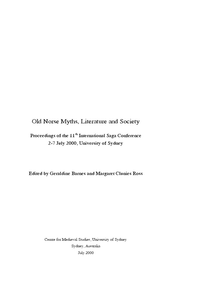 Old Norse Myths Literature And Society