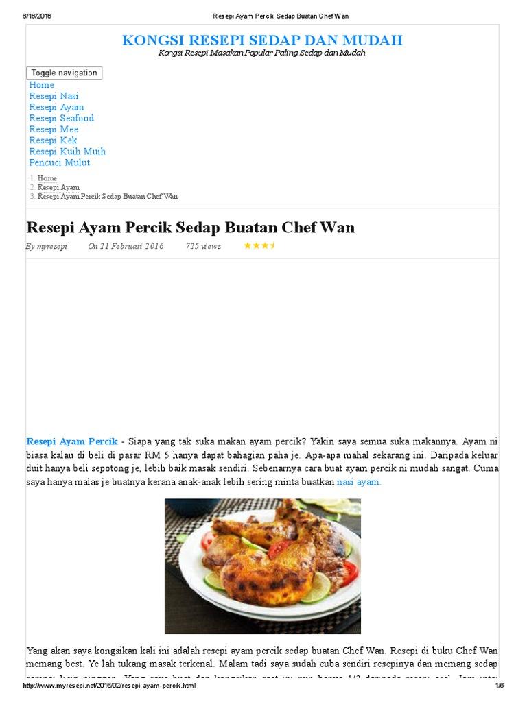 resepi ayam percik sedap buatan chef wan Resepi Masakan Ayam Belanda Enak dan Mudah