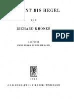 Kroner-Von Kant Bis Hegel, 1 & 2, 2nd Ed