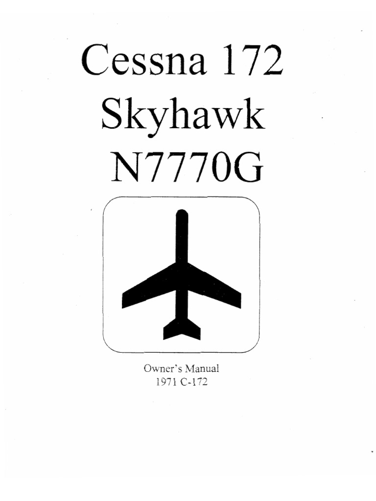 Cessna 172 Skyhawk, Owners Manual, (English) Manual Del rio