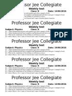 x Physics 14 Jun Test