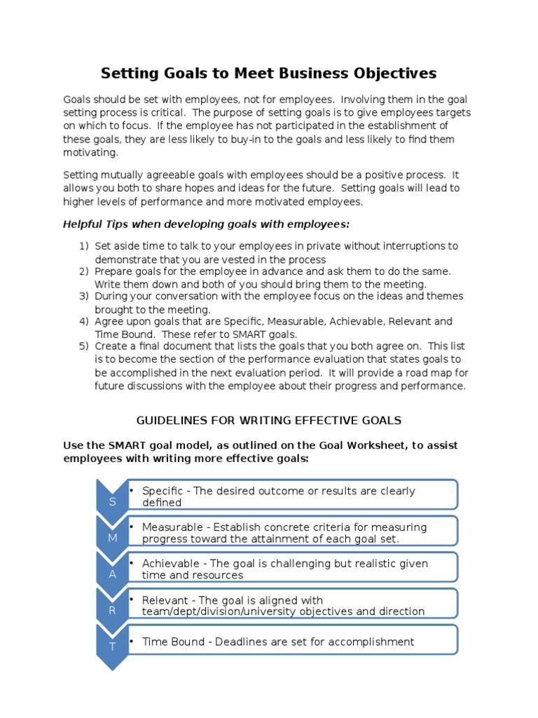 Goal Setting Worksheet Goal Employment