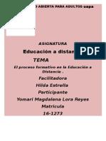 El Proceso Formativo en La Educación a Distancia