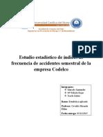 Estudio estadístico de indices de frecuencia de accidentabilidad semestral
