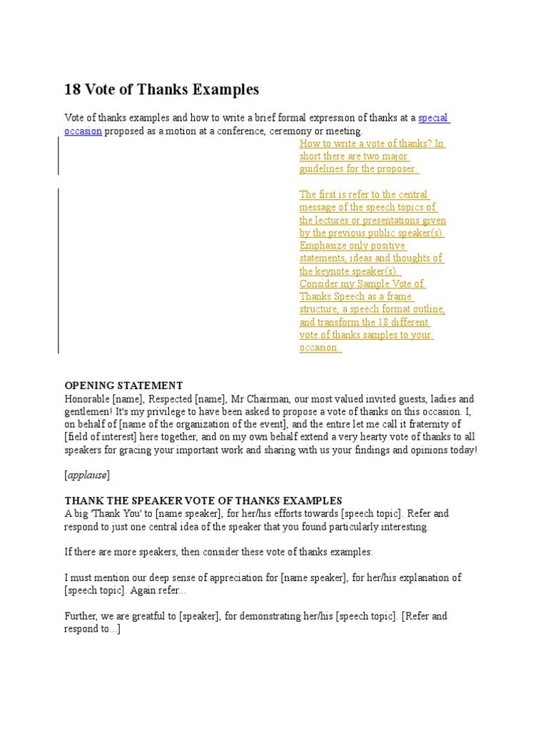18 vote of thanks examples gratitude journalism aljukfo Gallery