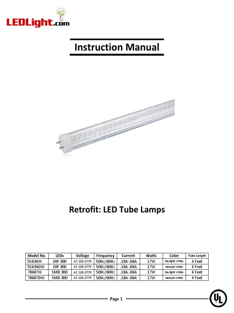 Ledlight instruction manual electrical wiring fluorescent lamp publicscrutiny Choice Image