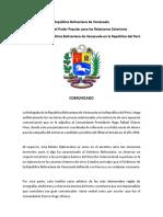 Comunicado Venezuela 2016