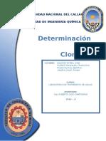 informe de laboratorio  de Aguas Determinacion de  Cloruros