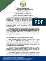 Gabinete Da Presidência - Nota Pública 01-2016