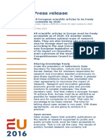 Press Release All European Scientific Articles to Be Freely