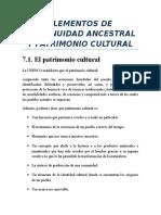Elementos de Continuidad Ancestral y Patrimonio Cultural
