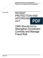 GAO - CMS Should Act to Strengthen Enrollment Controls and Manage Fraud Risk