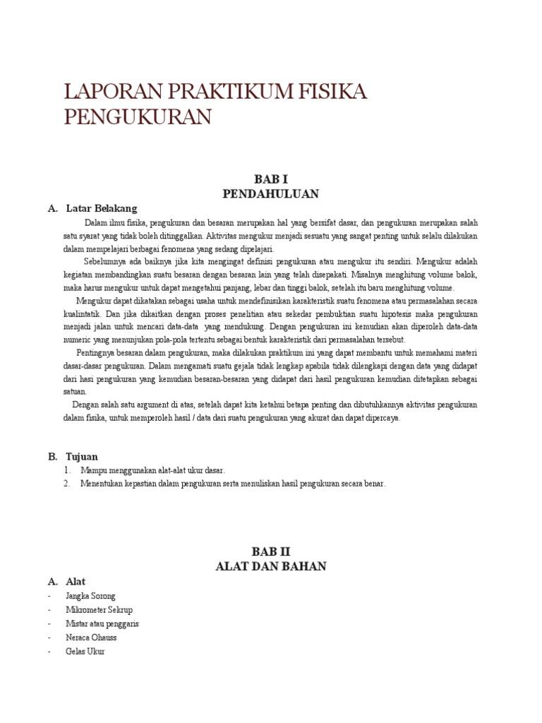 Laporan Praktikum Fisika Pengukuran