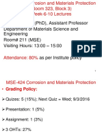 Week 6 to 10 Lectures Corrosion