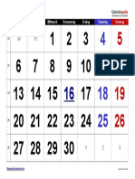 Kalender Juni 2016 Grosse Ziffern