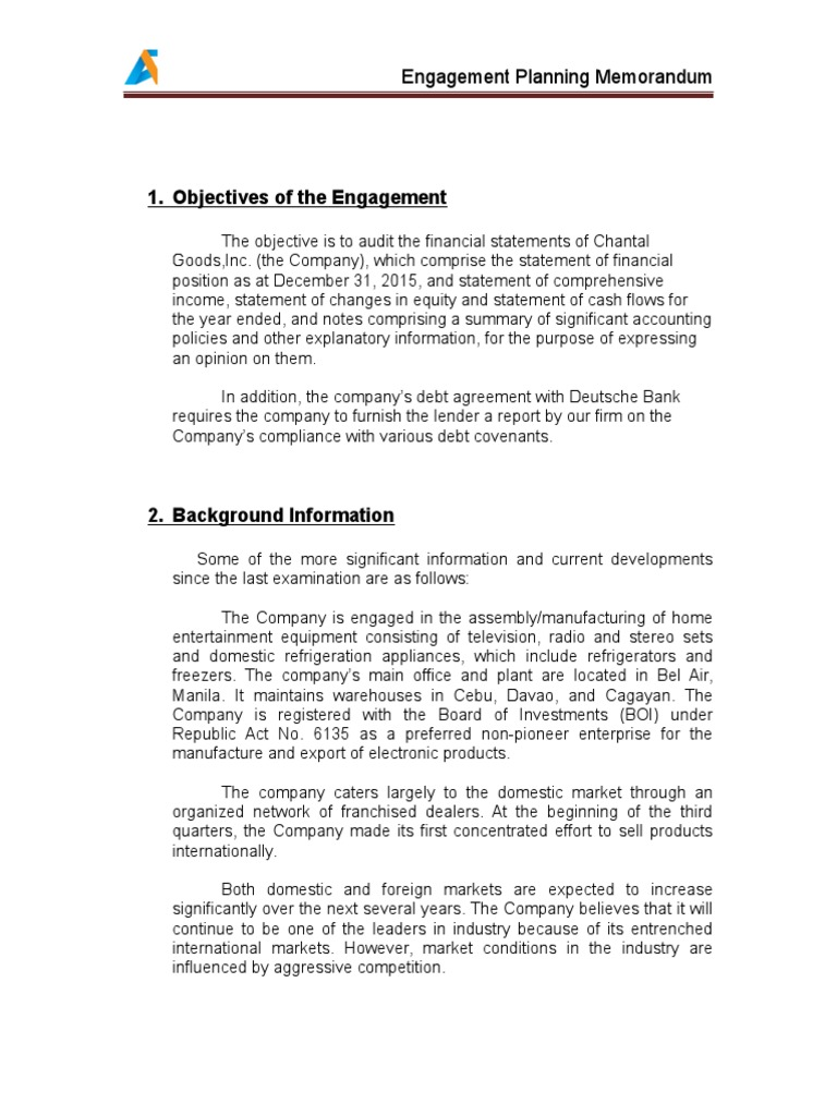 Ac 521 engagement planning memo audit financial statement altavistaventures Images
