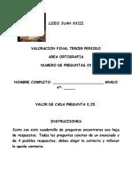 Valoracion Ortografia 3 PERIODO -2016