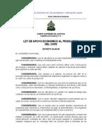Ley de Apoyo Económico Al Productor Del Café.