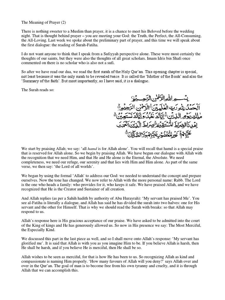 The Meaning of Prayer (2)   Sahaba   Alá