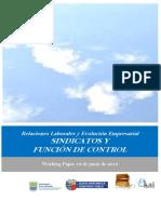 Relaciones Laborales y Evolucion Empresarial. SINDICATOS Y FUNCION DE CONTROL