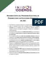 Resumen CORTO Programa Electoral Podemos para las Elecciones Generales del 26J
