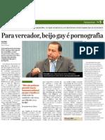 Homofobia do vereador Amauri Colares (PSC), de Manaus. Símile da edição de 19 de maio do jornal Diário do Amazonas.