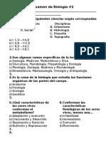 Examen de Biología 2a