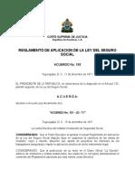 Reglamento de Aplicación de La Ley Del Seguro Social.