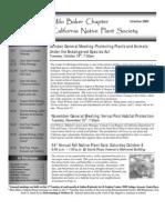 Milo Baker Chapter Newsletter, October 2005 ~ California Native Plant Society