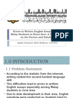 Errors in Written English Essays Among Malay Students