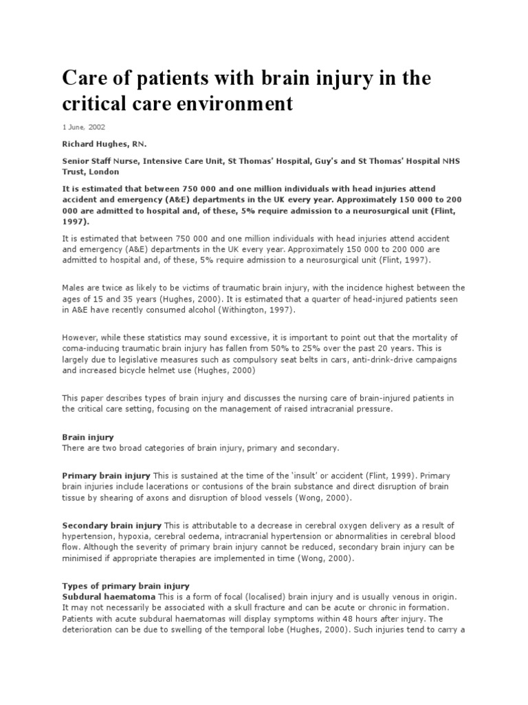 Care of Patients With Brain Injury in the Critical Care Environment