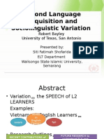 Second Language Acquisition and Sociolinguistic Variation