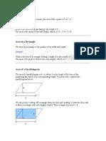 Formula of Areas