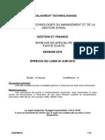 STMG 2016 Sujet Gestion Et Finance
