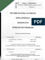 Brevet 2016 Washington Francais Sujet