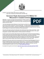 Governor Doyle Announces $1.6 Million for Wisconsin's Coastal Communities
