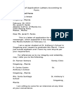 Three Types of Application Letters According to Form
