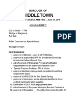 Draft agenda for June 21, 2016 meeting of Middletown Borough Council